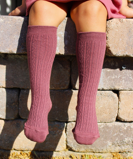 Girls knee high socks - mustard