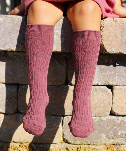 bb3c377d7aee Girls knee high socks - dusty rose Children's Clothing Store | Baby Clothes  | Women's Clothes at Little Foot Clothing Co.