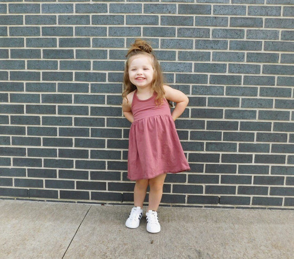 Girls Dusty Rose Halter Dress - LITTLE FOOT CLOTHING CO.