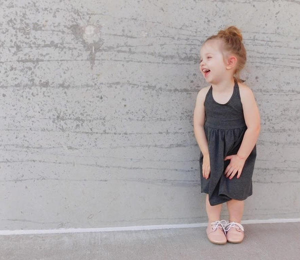 Girls Heather Gray Halter Dress - LITTLE FOOT CLOTHING CO.