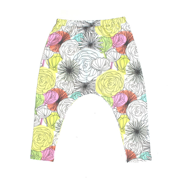 Harem Pants Bold Blooms - LITTLE FOOT CLOTHING CO.
