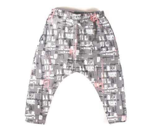 UNISEX GRAY GRAFFITI HAREM PANTS - LITTLE FOOT CLOTHING CO.