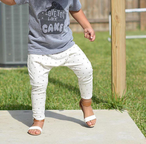 UNISEX GRAY X'S HAREM PANTS - LITTLE FOOT CLOTHING CO.