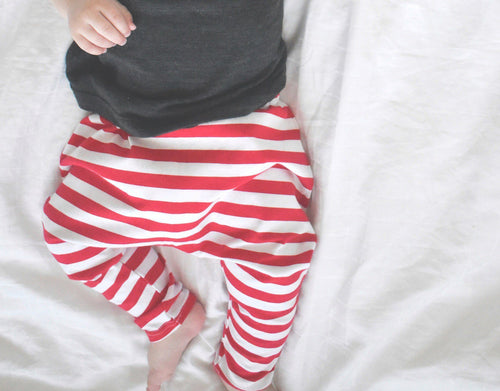 UNISEX THIN RED STRIPE HAREM PANTS - LITTLE FOOT CLOTHING CO.