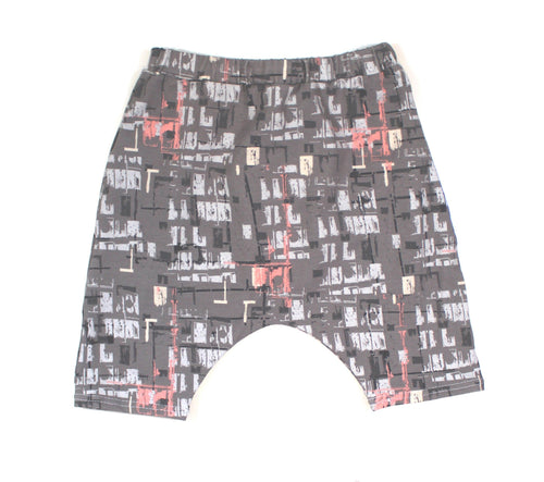 GRAY GRAFFITI HAREM SHORTS - LITTLE FOOT CLOTHING CO.