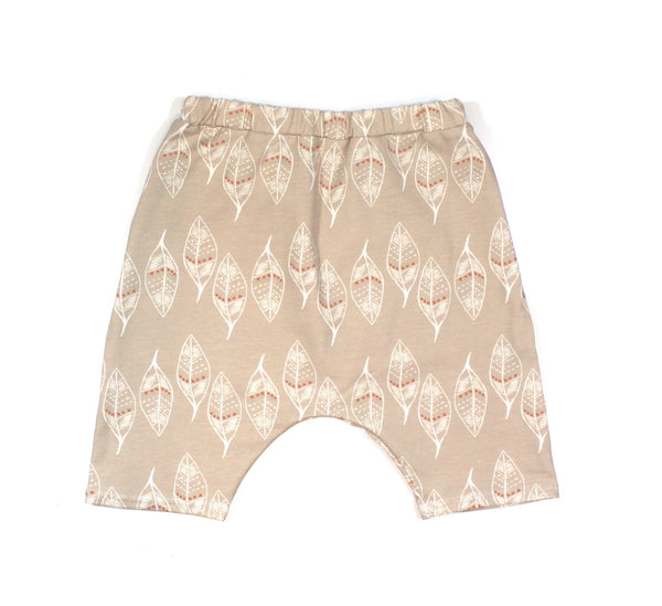 TAN LEAVES HAREM SHORTS - LITTLE FOOT CLOTHING CO.