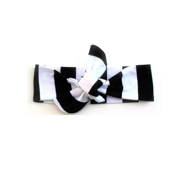TOP KNOT HEADBAND - BLACK STRIPE HEADBAND - LITTLE FOOT CLOTHING CO.