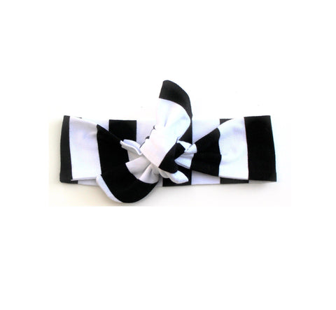 Top knot headband black stripe headband (Baby girls, toddler girls, little girls & big girls). One size only!