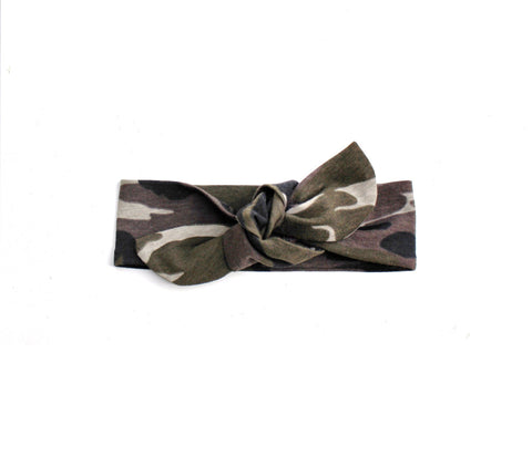 Top knot headband camo headband (Baby girls, toddler girls, little girls & big girls). One size only!