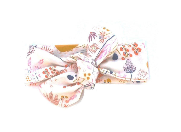 TOP KNOT HEADBAND - CREAM GARDEN HEADBAND - LITTLE FOOT CLOTHING CO.