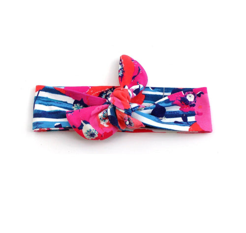 Top knot headband navy floral headband (Baby girls, toddler girls, little girls & big girls). One size only!