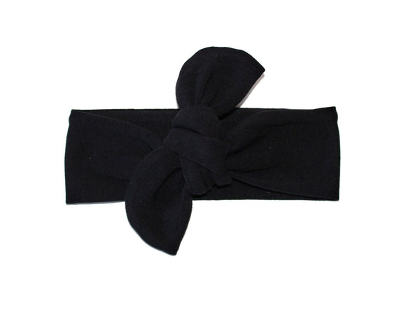 TOP KNOT HEADBAND - SOLID BLACK HEADBAND (One size only)