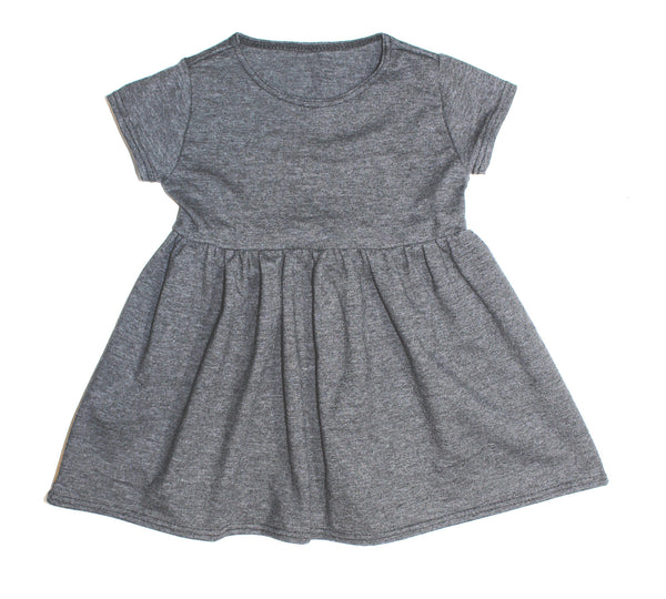 Girls Heather Gray Cap Sleeve Dress - LITTLE FOOT CLOTHING CO.