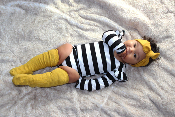 GIRLS STRIPE LONG SLEEVE LEOTARDS - 3 OPTIONS - LITTLE FOOT CLOTHING CO.