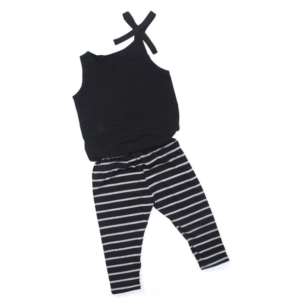 GIRLS BLACK & GRAY STRIPE CAPRI JUMP SUIT (0/3 M - 6T)