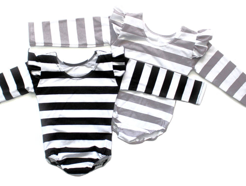 GIRLS FLUTTER SLEEVE STRIPE LONG SLEEVE LEOTARDS (0/3 M - 6T) - 3 COLOR OPTIONS