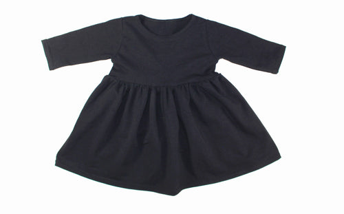 GIRLS SOLID LONG SLEEVE TANK DRESS (0/3 M - 6T) - 5 COLOR OPTIONS