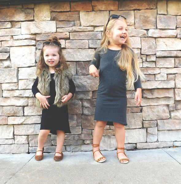 GIRLS LONG SLEEVE MAXI DRESS - HEATHER GRAY - LITTLE FOOT CLOTHING CO.