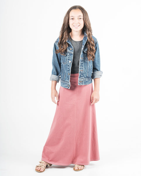 TWEEN MAXI SKIRT - SOLID COLORS (Tween Clothing). 4 COLOR OPTIONS