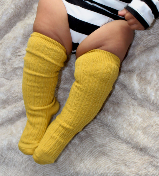 Girls knee high socks - mustard - LITTLE FOOT CLOTHING CO.