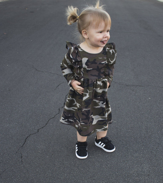 Girls Camo Poppy Dress - LITTLE FOOT CLOTHING CO.
