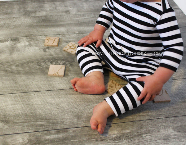 UNISEX THIN STRIPE BABY ROMPER No Snaps! (0/3 M - 18/24 M) - 3 COLOR OPTIONS