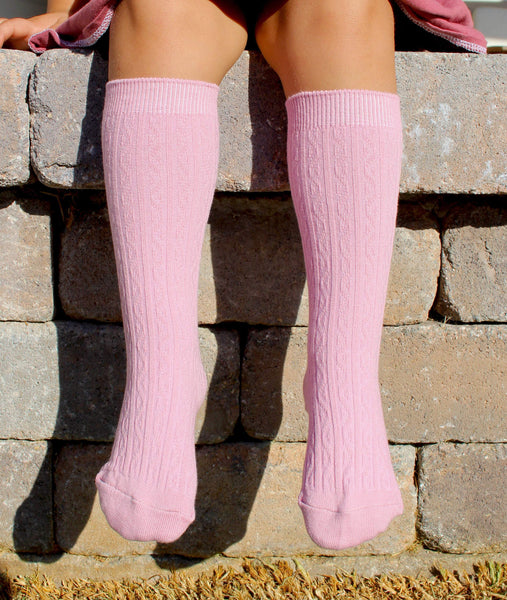 Girls knee high socks - rosy pink - LITTLE FOOT CLOTHING CO.