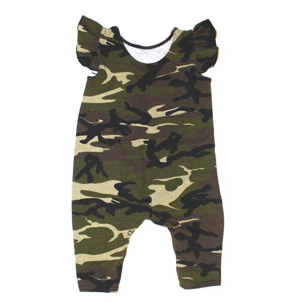 Girls Camo Tank Ruffle Romper - LITTLE FOOT CLOTHING CO.