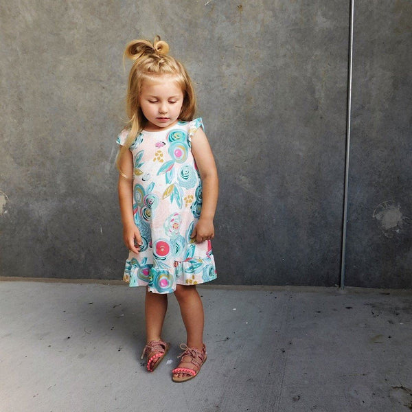 GIRLS FLORAL TUNIC DRESS (0/3 M - 6T) - 6 COLOR OPTIONS