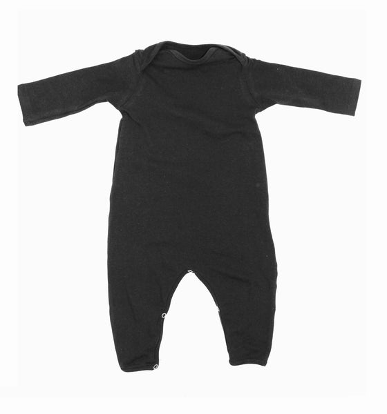 UNISEX BABY BLACK SNAP ROMPER - LITTLE FOOT CLOTHING CO.