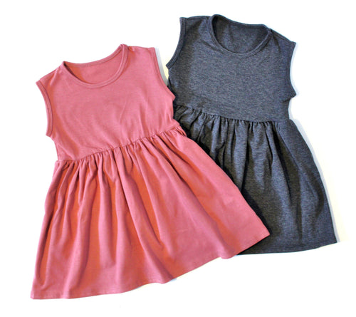 GIRLS SOLID COLOR TANK DRESS (0/3 M - 6T) - 3 COLOR OPTIONS