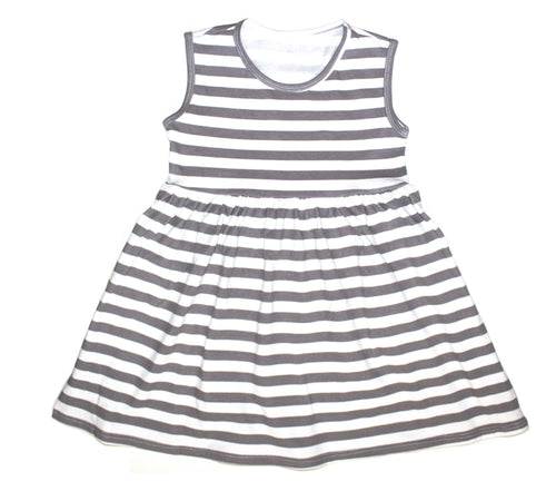 Girls Gray Stripe Tank Dress - LITTLE FOOT CLOTHING CO.