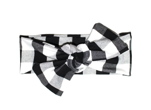 Black Plaid Bow Headband - LITTLE FOOT CLOTHING CO.