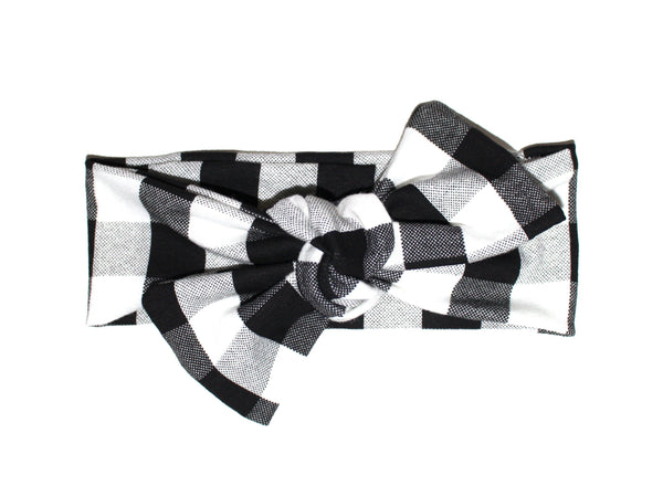 BOW HEADBAND - BLACK PLAID - LITTLE FOOT CLOTHING CO.