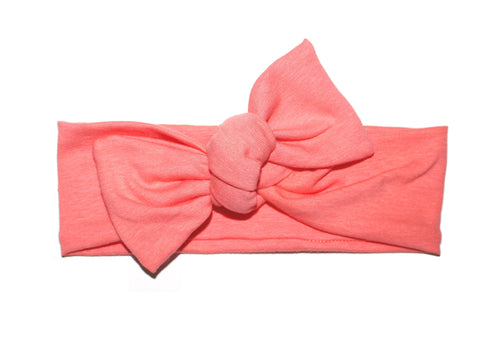Coral Bow Headband - LITTLE FOOT CLOTHING CO.