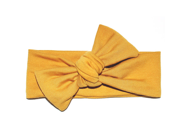 BOW HEADBAND - MUSTARD - LITTLE FOOT CLOTHING CO.