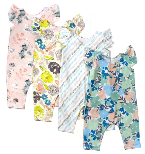 GIRLS FLORAL RUFFLE ROMPER - LITTLE FOOT CLOTHING CO.
