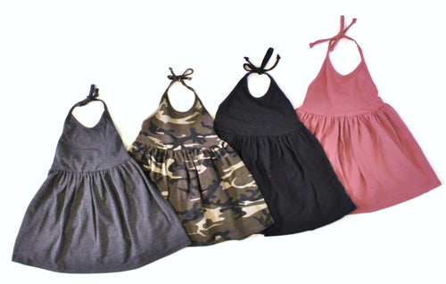 GIRLS SOLID COLOR HALTER DRESS (0/3 M - 6T) - 4 COLOR OPTIONS