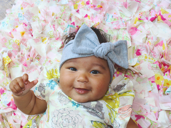 Light Gray Bow Headband - LITTLE FOOT CLOTHING CO.