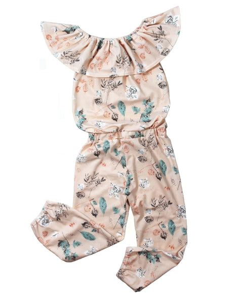 Girls floral tank ruffle romper - 4 options