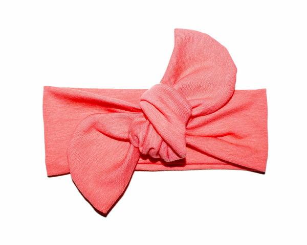 TOP KNOT HEADBAND - CORAL - LITTLE FOOT CLOTHING CO.