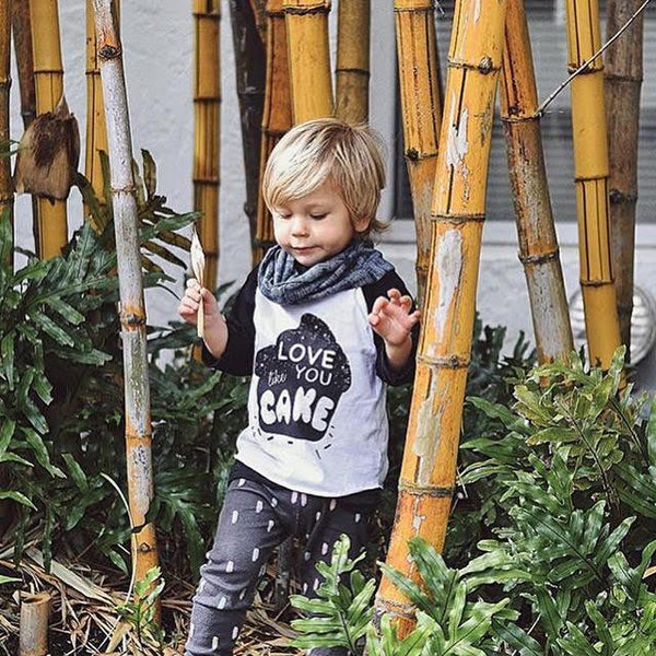 NEW LOVE YOU LIKE CAKE - BLACK RAGLAN - LITTLE FOOT CLOTHING CO.