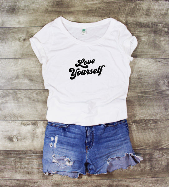 LOVE YOURSELF SCOOP NECK - MORE COLORS - LITTLE FOOT CLOTHING CO.