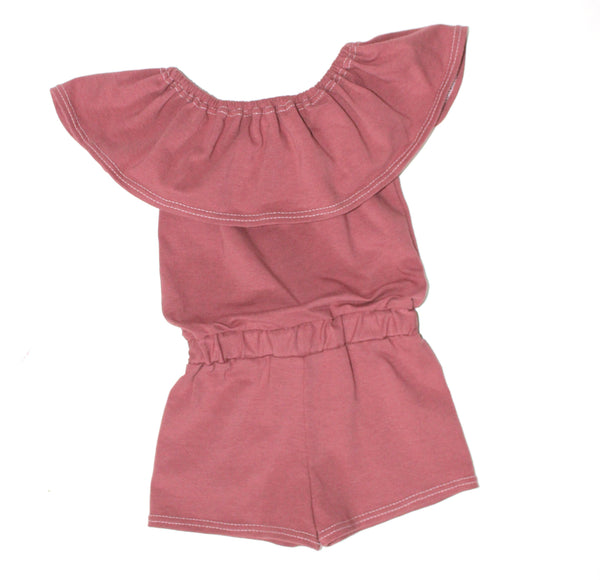 GIRLS OFF THE SHOULDER SHORTS JUMP SUIT - 4 OPTIONS - LITTLE FOOT CLOTHING CO.