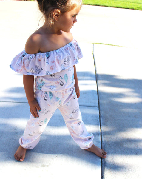 GIRLS OFF THE SHOULDER JUMP SUIT - 5 OPTIONS - LITTLE FOOT CLOTHING CO.
