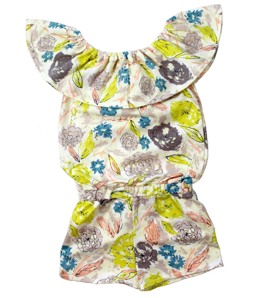 Girls floral off the shoulder shorts jumpsuit - 5 options - LITTLE FOOT CLOTHING CO.
