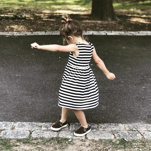 GIRLS THIN STRIPE TANK DRESS (0/3 M - 6T) - 3 COLOR OPTIONS