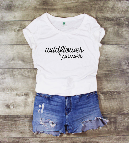 WILDFLOWER POWER ROSE SCOOP NECK - MORE COLORS - LITTLE FOOT CLOTHING CO.