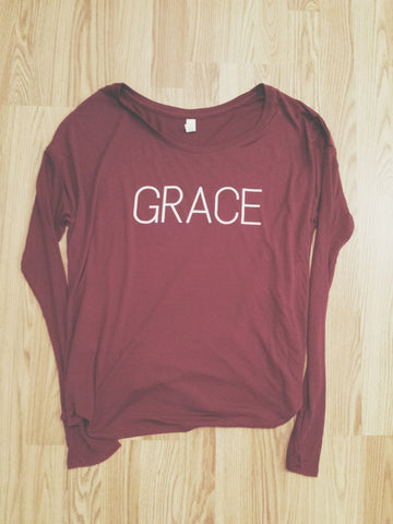 Grace Long Sleeve Tee (Maroon)