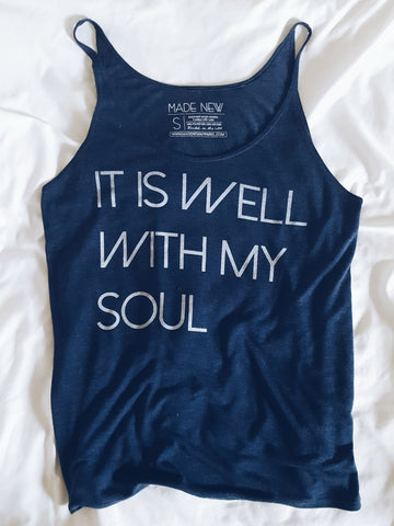 It Is Well With My Soul - Navy Flowy Tank